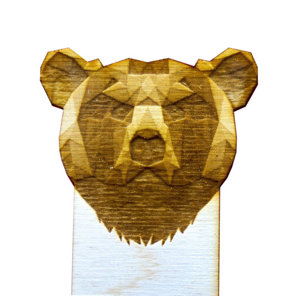 Engraved Wood Bookmarks - Geometric Animals - bear - lumengrave