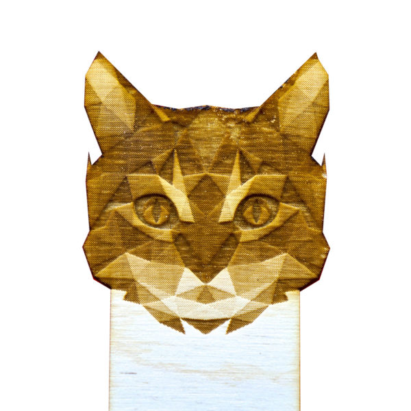 Engraved Wood Bookmarks - Geometric Animals - cat - lumengrave