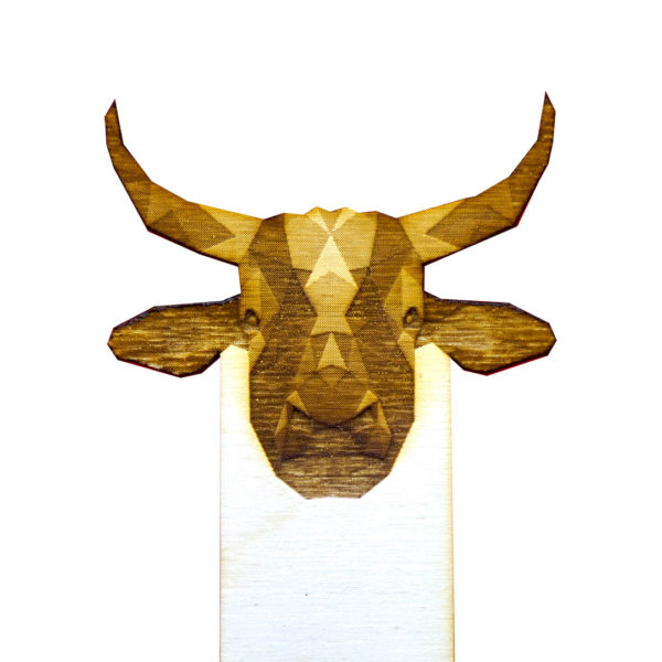 Engraved Wood Bookmarks - Geometric Animals - cow - lumengrave