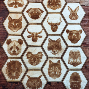 Engraved Wood Coasters - Geometric Animals - all - lumengrave