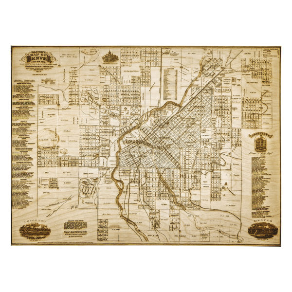 1879 Denver Engraved Wooden Map - Historical Map Collection - Main - Lumengrave