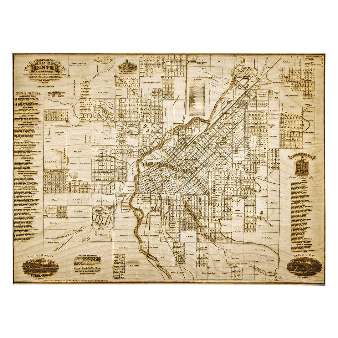 1879 Denver Engraved Wooden Map Lumengrave Historical Maps
