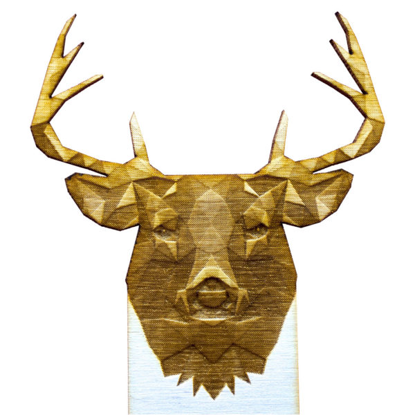 Engraved Wood Bookmarks - Geometric Animals - elk - lumengrave