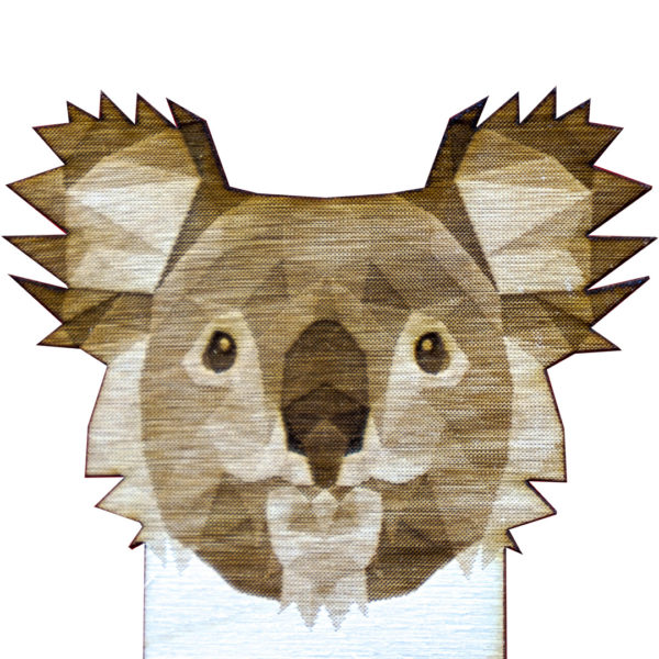 Engraved Wood Bookmarks - Geometric Animals - koala - lumengrave