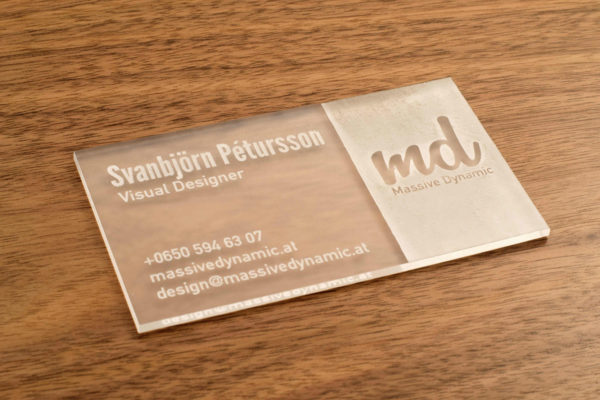 laser cut acrylic business cards - lumengrave