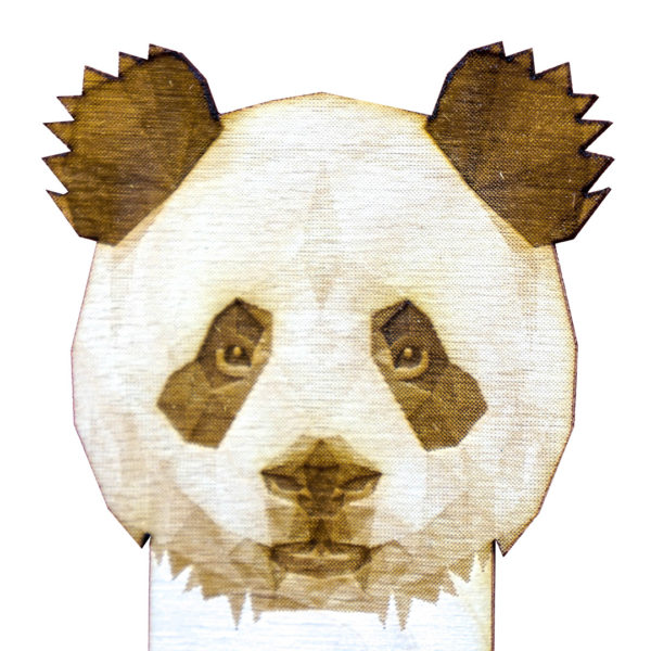Engraved Wood Bookmarks - Geometric Animals - panda - lumengrave