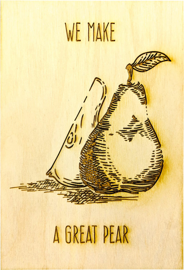 engraved wood gift cards - vegetables and fruits collection - pear - lumengrave