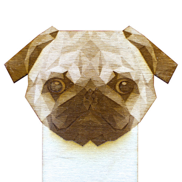 Engraved Wood Bookmarks - Geometric Animals - pug - lumengrave