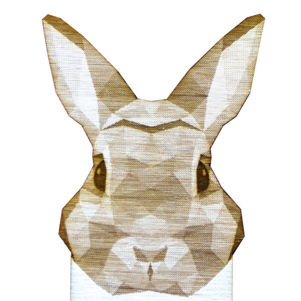 Engraved Wood Bookmarks - Geometric Animals - rabbit - lumengrave