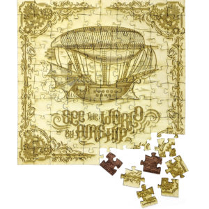 See The World - Engraved Wood Puzzle - almost complete puzzle - lumengrave
