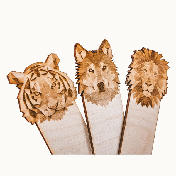 Engraved Wood Bookmarks - Geometric Animals - hero tiger wolf lion - lumengrave