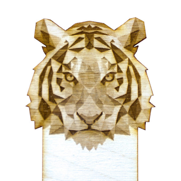 Engraved Wood Bookmarks - Geometric Animals - tiger - lumengrave