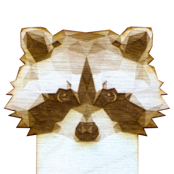Engraved Wood Bookmarks - Geometric Animals - raccoon - lumengrave