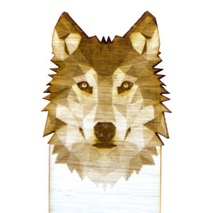 Engraved Wood Bookmarks - Geometric Animals - wolf - lumengrave