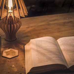 Unique Laser Cut Wooden Table Lamp - action book open - Lumengrave